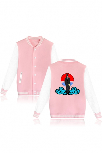 Stylish Comic Character Cloud Printed Rib Stand Collar Button Down Baseball Jacket