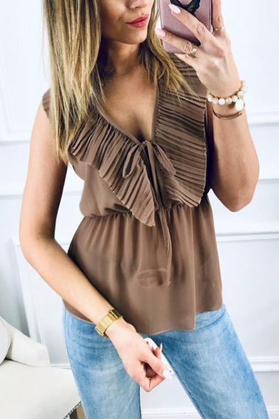Summer Chic Flutter Tied Plunging V-Neck Sleeveless Brown Chiffon Blouse Top