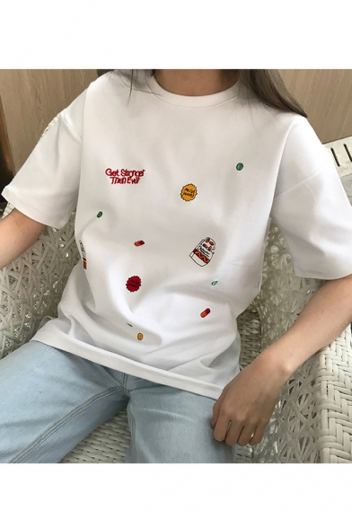 Summer Cute Simple Letter Embroidery Round Neck Short Sleeve Casual Loose T-Shirt