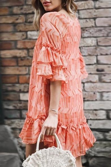 Summer Fashion Orange Pattern Tied V-Neck Mini Casual Loose Shift Ruffle Dress