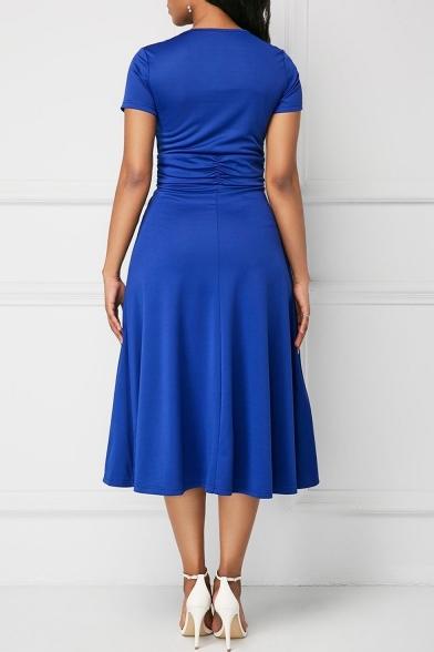 Summer New Stylish Plain Short Sleeve V-Neck Asymmetric Hem Midi Dress For Women