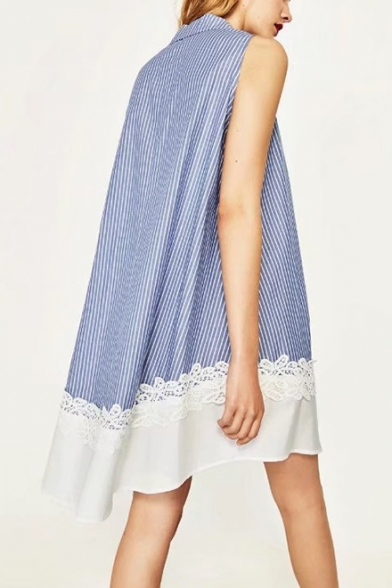 Summer Trendy Blue Striped Pattern Lapel Collar Sleeveless Chic Lace Patched Hem Mini Swing Dress