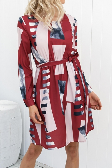 Summer Trendy Geometric Pattern Round Neck Long Sleeve Tied Waist Midi A-Line Dress