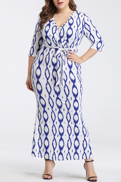 Summer Trendy V-Neck Short Sleeve Printed Bow-Tied Waist Loose Maxi Pencil Dress For Women