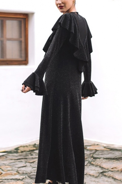 Women's Fashion Sexy Round Neck Long Sleeve Plain Ruffle Hem Mesh Patch Midi Black A-Line Dress