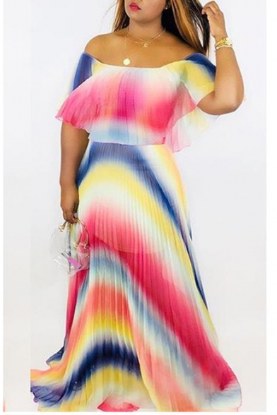 Women's Hot Fashion Off The Shoulder Half Sleeve Ombre Printed Maxi Pleated Dress