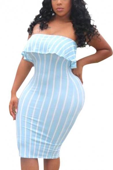 Women's Light Blue Striped Ruffle Off Shoulder Midi Bodycon Dress