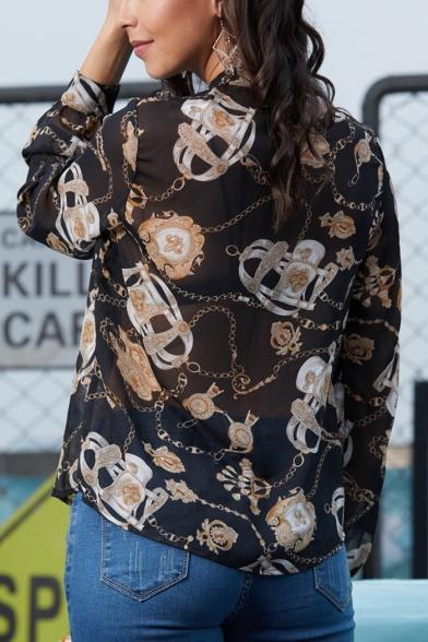 Women's Unique Chain Pattern Choker V-Neck Long Sleeve Black Sheer Chiffon Blouse Top