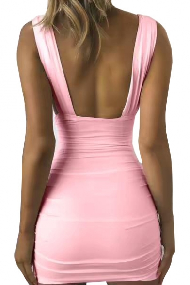 Womens Basic Simple Plain Sexy Plunged V-Neck Sleeveless Open Back Mini Pleated Bodycon Nightclub Dress
