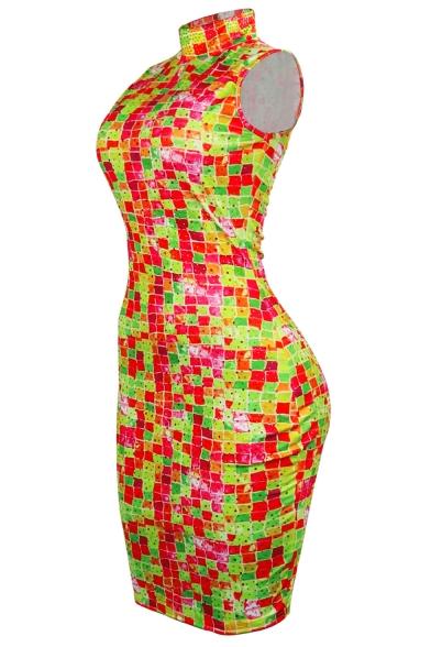 Womens High Neck Sleeveless Colorful Hot Drilling Zip Back Mini Bodycon Dress