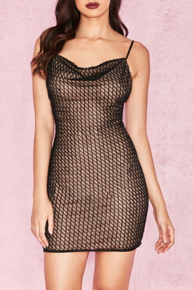 Womens Sexy Black Sheer Grid Open Back Sleeveless Mini Bodycon Slip Dress