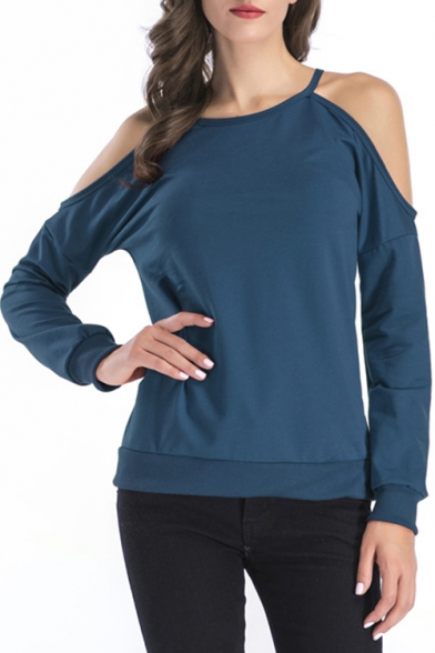 Womens Simple Plain Cold Shoulder Long Sleeve Casual Loose Pullover Sweatshirt