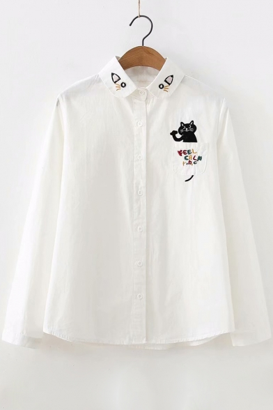 Baycheer / Cute Cartoon Letter Cat Pocket Simple Long Sleeve Button Down Casual Shirt