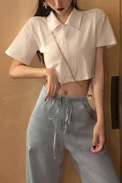 Girls Summer Unique Oblique Button Front Short Sleeve Plain Cropped Polo Shirt