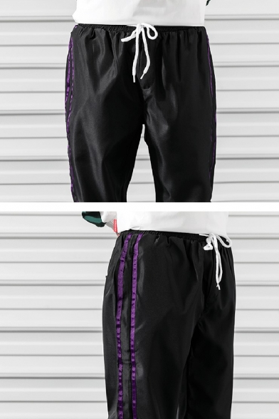 Guys New Fashion Contrast Stripe Side Letter Printed Drawstring Waist Elastic Casual Hip Pop Track Pants