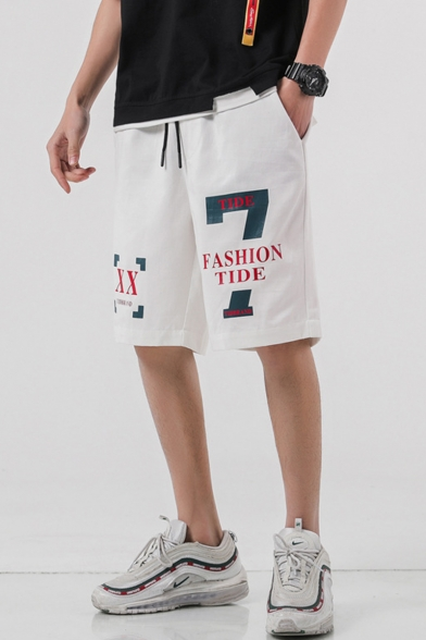 Guys New Trendy Letter 7 FASHION TIDE Printed Drawstring Waist Casual Cotton Sweat Shorts