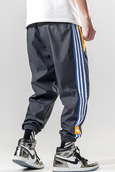 Guys Street Style Fashion Letter Embroidery Contrast Stripe Side Drawstring Waist Casual Loose Track Pants