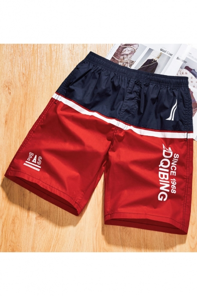 Guys Summer New Fashion Colorblock Letter Printed Elastic Waist Casual Sports Shorts