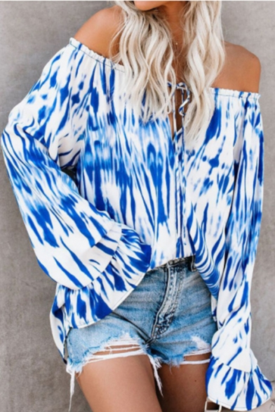 Hot Fashion Womens Bell Sleeve Off Shoulder Tie Dye Oversize Blouse