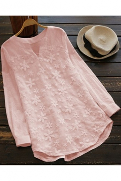 Hot Popular Chic Lace Embroidery V-Neck Long Sleeve Loose Fit Blouse for Women