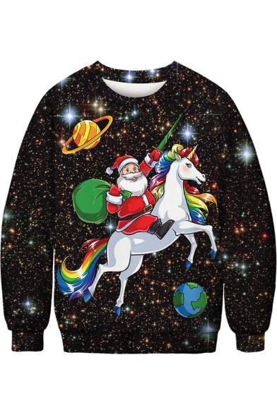 Hot Popular Christmas Santa Claus Unicorn Galaxy Printed Loose Casual Pullover Sweatshirt