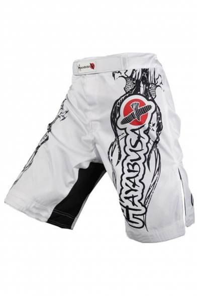 Men's Cool Fashion Letter Eagle Printed Professional Boxing Shorts