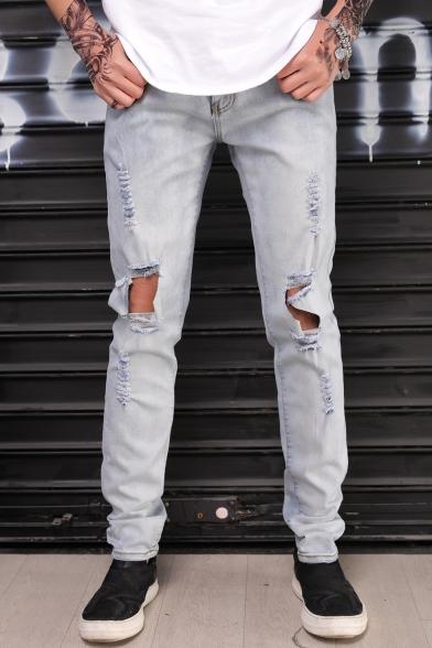 Men's Fashion Simple Plain Cool Knee Cut Regular Fit Ripped Jeans