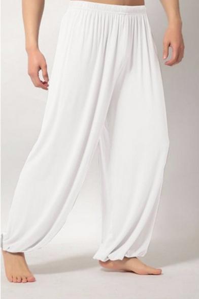 Men's Fashion Simple Plain Elastic Waist Loose Fit Casual Wide-Leg Pants