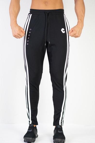 Men's New Fashion Contrast Stripe Side Letter C Printed Drawstring Waist Sports Fitness Pants