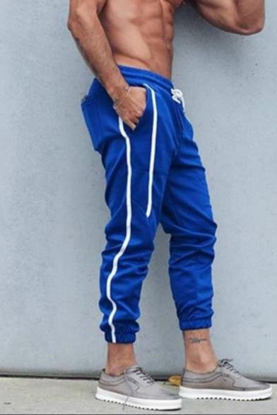 Men's Popular Fashion Contrast Stripe Side Drawstring Waist Slim Fit Sports Sweatpants Track Pants