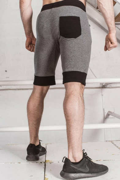 Men's Summer Fashion Cool Camouflage Logo Pattern Zipped Pocket Drawstring Waist Casual Sports Sweat Shorts