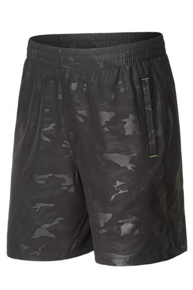 Men's Summer Fashion Cool Camouflage Printed Drawstring Waist Zipped Pocket Casual Loose Athletic Shorts
