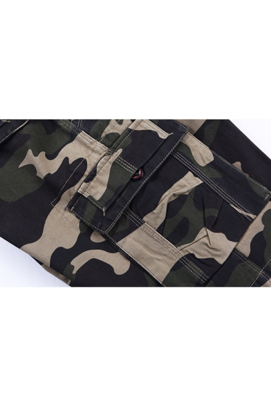 Men's Summer Fashion Cool Camouflage Printed Zip-fly Cotton Cargo Shorts with Side Pockets