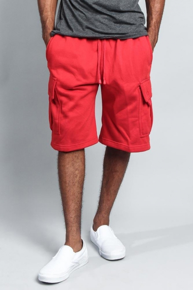 Men's Summer Fashion Flap Pocket Drawstring Waist Casual Relaxed Cargo Sweat Shorts