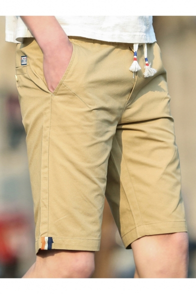 Men's Summer Fashion Stripe Patched Drawstring Waist Casual Chino Shorts