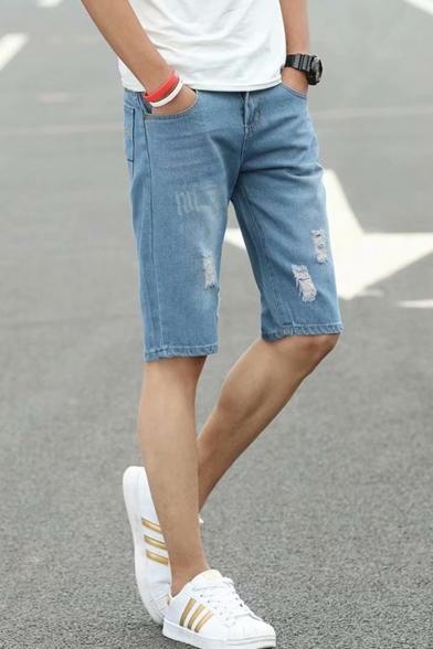 Men's Summer Trendy Simple Plain Slim Fit Casual Ripped Denim Shorts