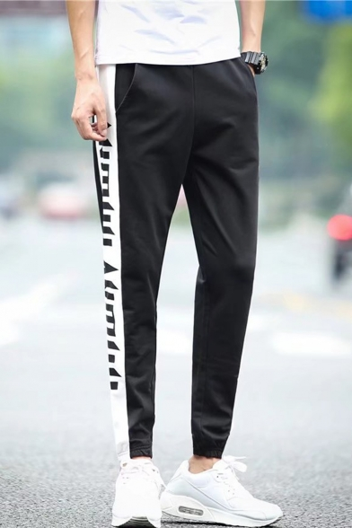 Men's Trendy Letter Printed Elastic Cuffs Black Casual Track Pants