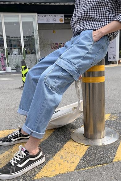 Men's Trendy Simple Plain Flap Pocket Side Rolled Cuffs Straight Wide Leg Casual Cargo Jeans