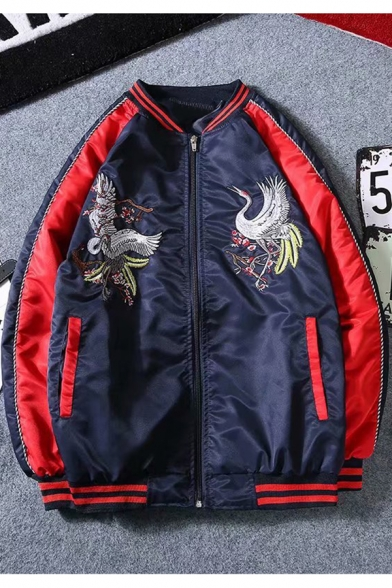 Mens Chinese Style Crane Embroidery Rib Stand Collar Zip Up Navy Baseball Jacket