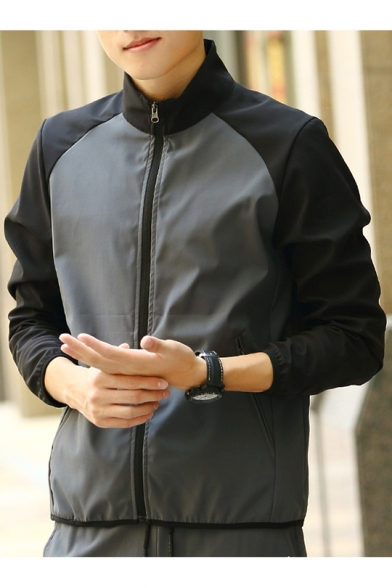 Mens Fashion Color Block Breathable Stand Collar Long Sleeve Zip Up Sport Track Jacket