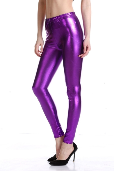 Metallic Color Elastic Waist Fitted Legging Pants for Night Club Show