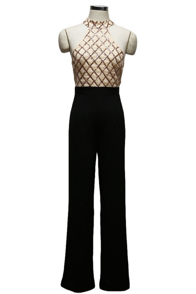 New Arrival Womens Halter Neck Sleeveless Sequin Embellished Patch Flare Leg Jumpsuits