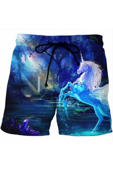 New Fashion Blue 3D Unicorn Printed Drawstring Waist Men's Summer Beach Swim Trunks
