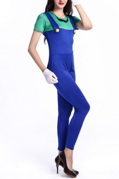 New Stylish Halloween Style Short Sleeve Colorblock Patch Fitted Jumpsuits for Cosplay