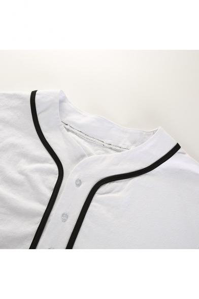 New Trendy Contrast Trim Button Down Short Sleeve Summer Baseball Shirts
