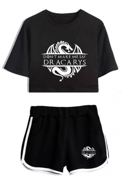 Popular DRACARYS Logo Print Short Sleeve Crop Tee with Casual Dolphin Shorts Two-Piece Set