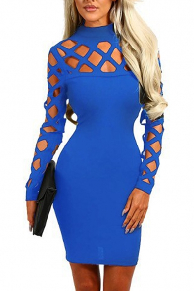 Stylish Plain Cutout Long Sleeve Zipper-Back Fitted Elegant Mini Dress for Evening Party