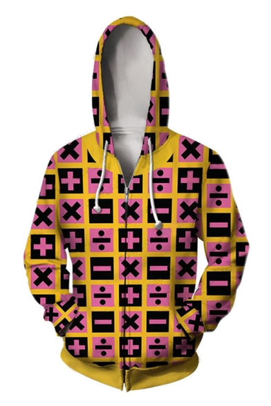 Stylish Mathematical Symbol 3D Printed Long Sleeve Zip Up Hoodie