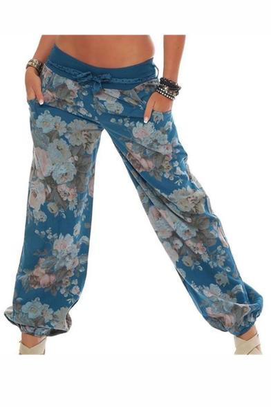 Verano Caliente De La Moda Fresco Estilo De La Calle De Auto-Lazo Mediados De La Cintura De La Impresión Floral Pantalones Bombachos