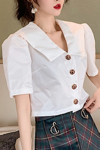 Summer Hot Fashion Simple Plain Button Down Wide Sleeve V Neck Casual Loose Chic Stain Shirts